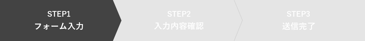 STEP1 フォーム入力 STEP2 入力内容確認 STEP3送信完了